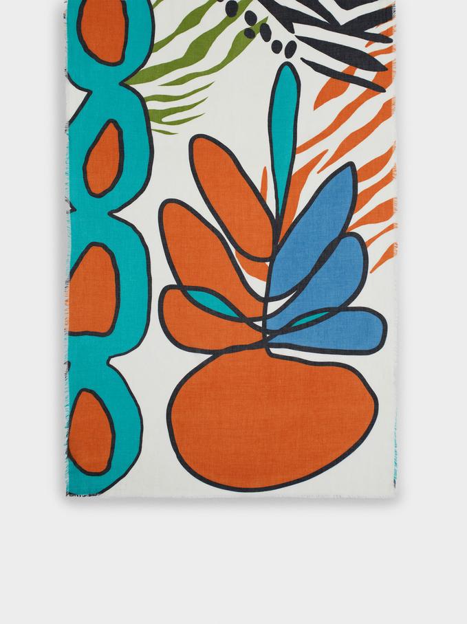 100% Organic Cotton Printed Scarf, Orange, hi-res