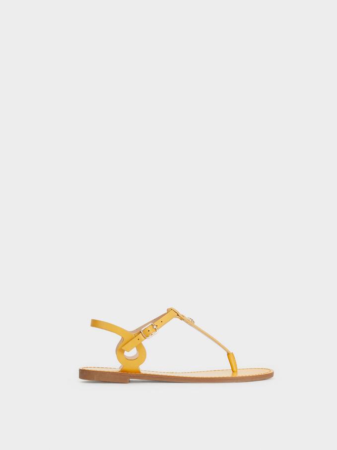 Pineapple-Detail Flat Sandals, Yellow, hi-res
