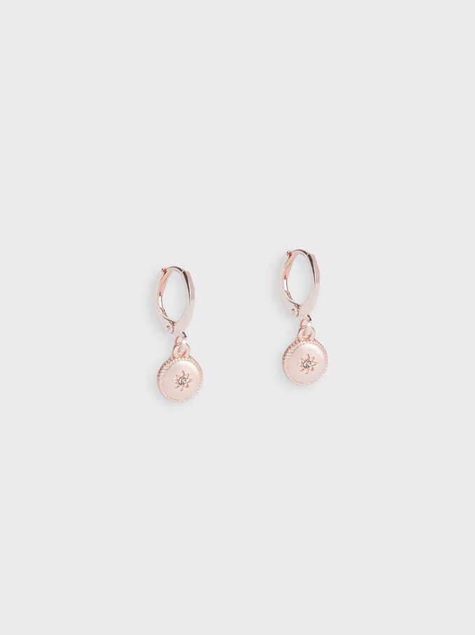 Small Hoop Earrings With Pendants, Orange, hi-res