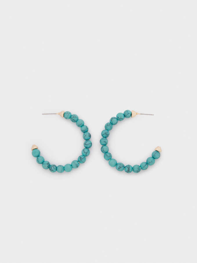 Large Hoop Earrings With Stones, Blue, hi-res