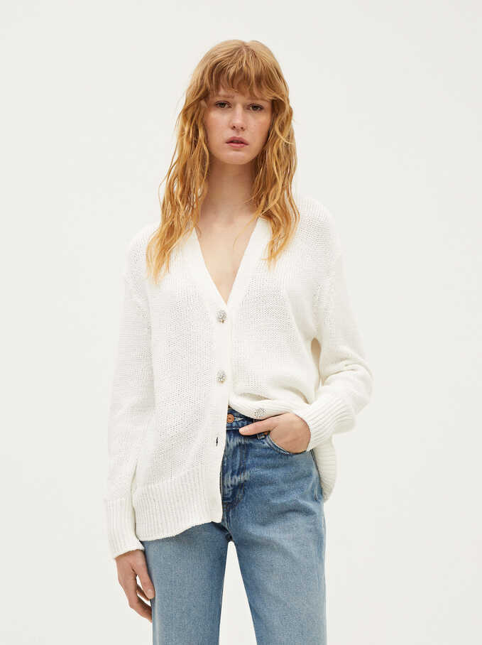 Knitted Cardigan With Buttons, White, hi-res