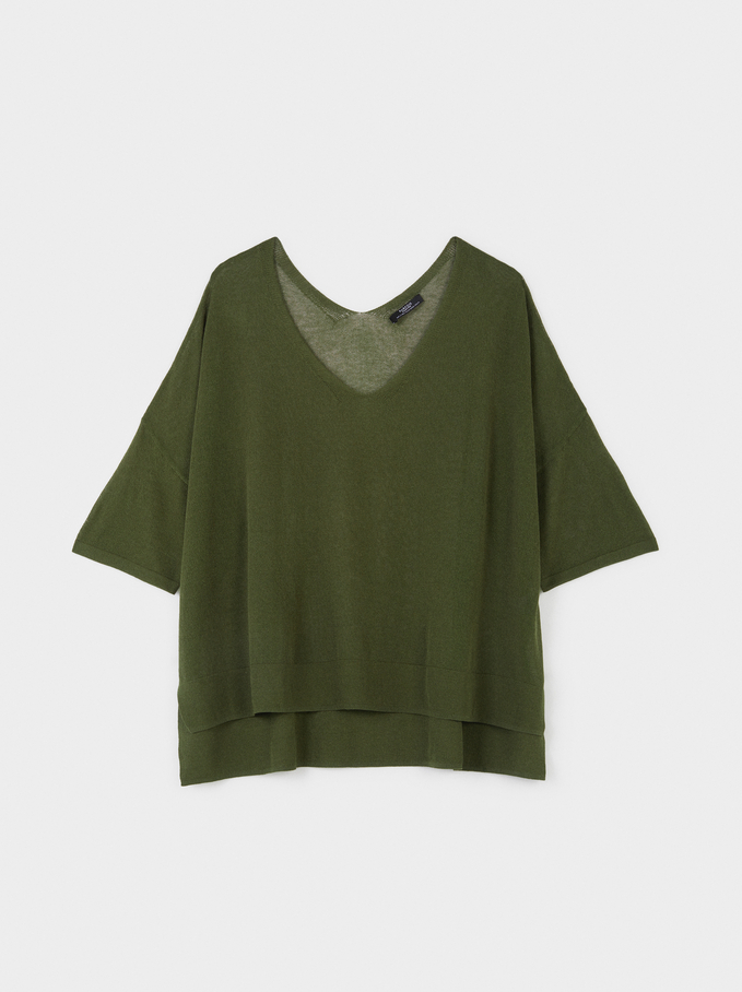 Short Sleeve Knit Top, Green, hi-res