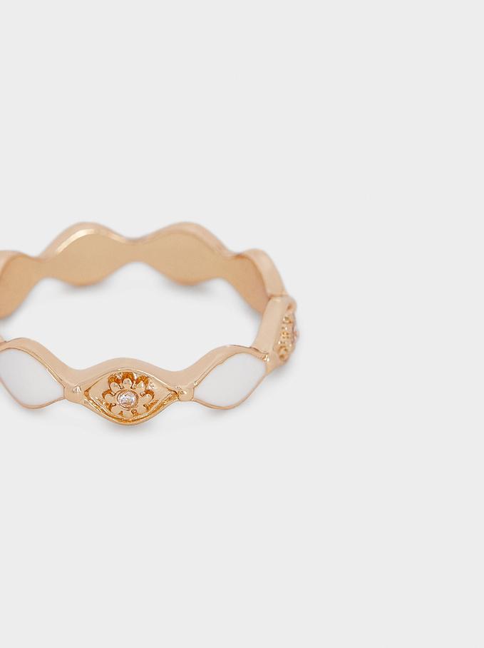 Gold Enamel Ring, Golden, hi-res