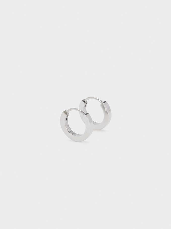 Small Steel Hoop Earrings, Silver, hi-res