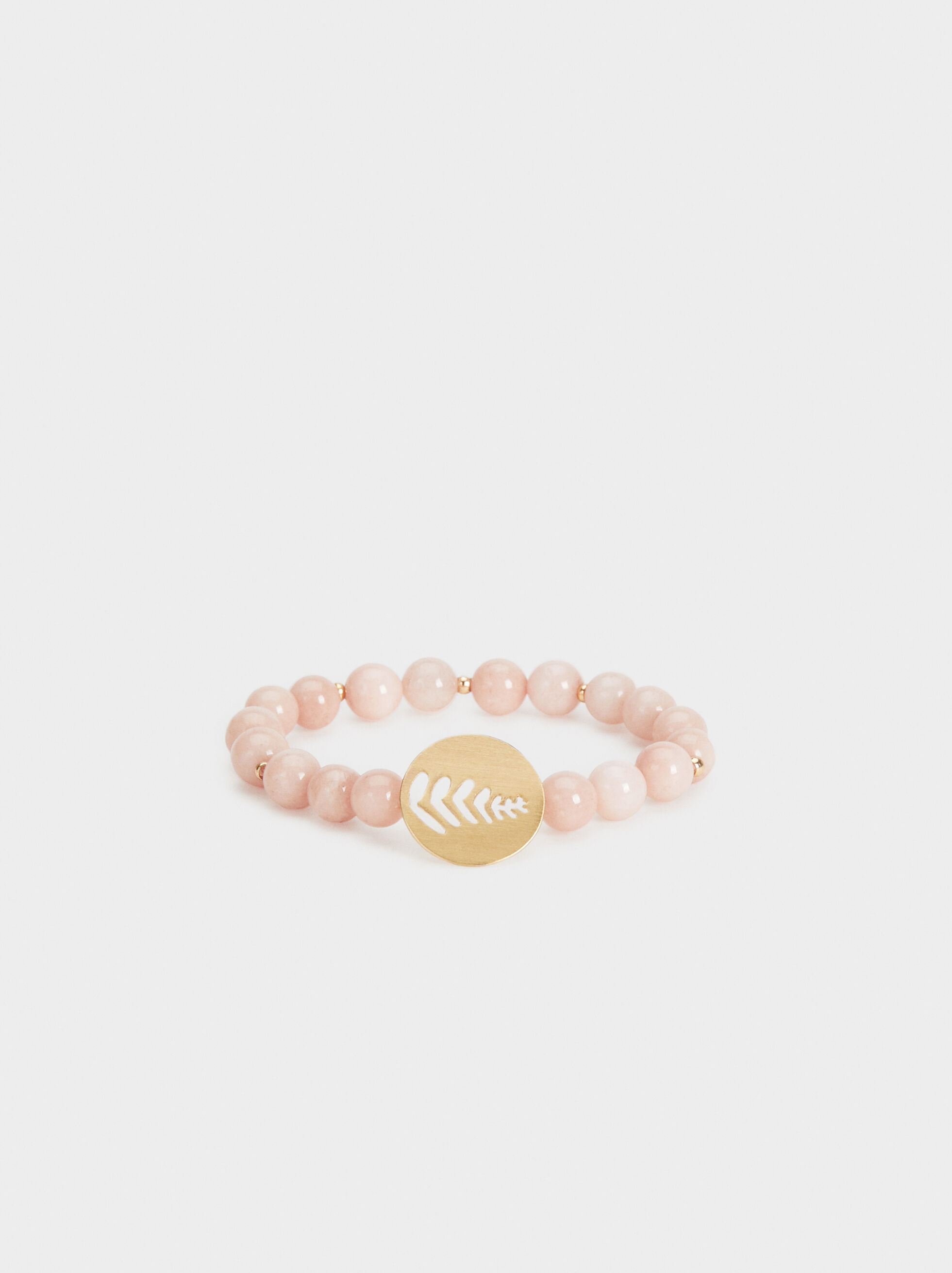 Stone Story Elastic Bracelet With Beading, Pink, hi-res