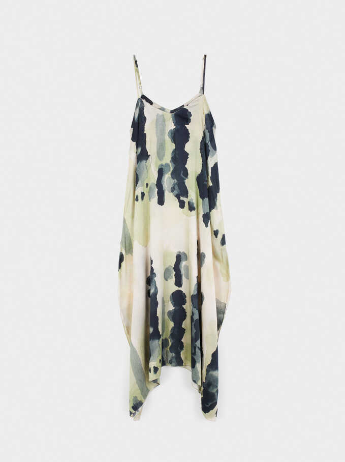Printed Dress With Straps, Green, hi-res