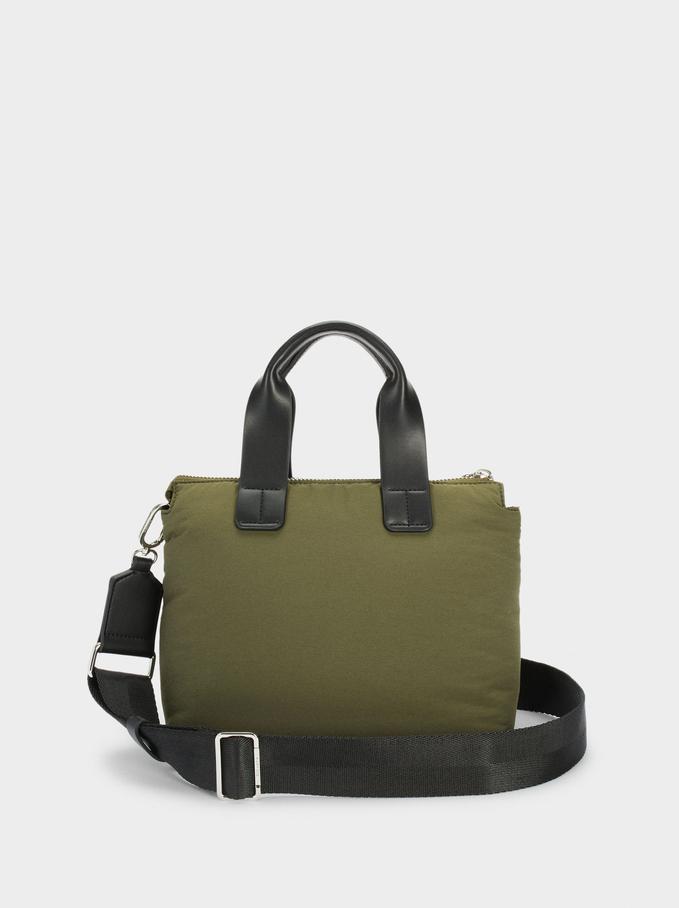 Nylon Shopper Bag Made From Recycled Materials, Khaki, hi-res