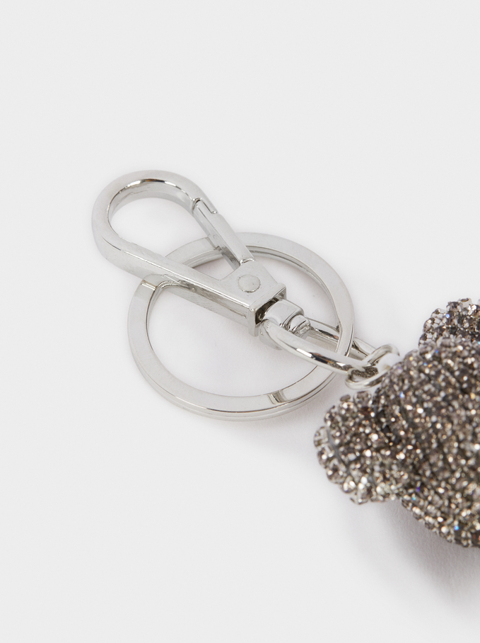 Bear Key Chain With Crystals, Silver, hi-res