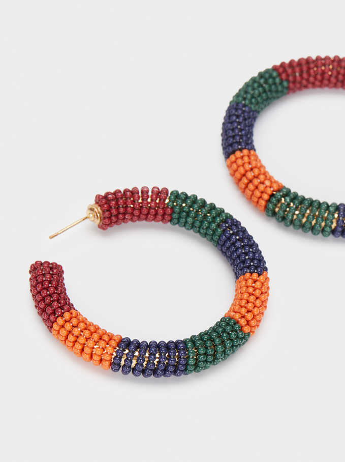 Long Earrings With Beads, Multicolor, hi-res