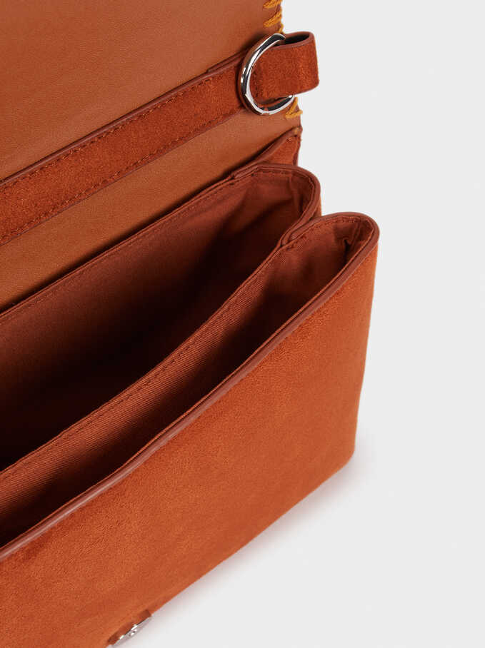 Suede Texture Shoulder Bag, Brick Red, hi-res