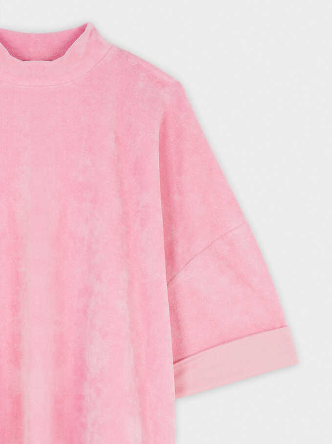 Plain Oversized Sweater, Pink, hi-res