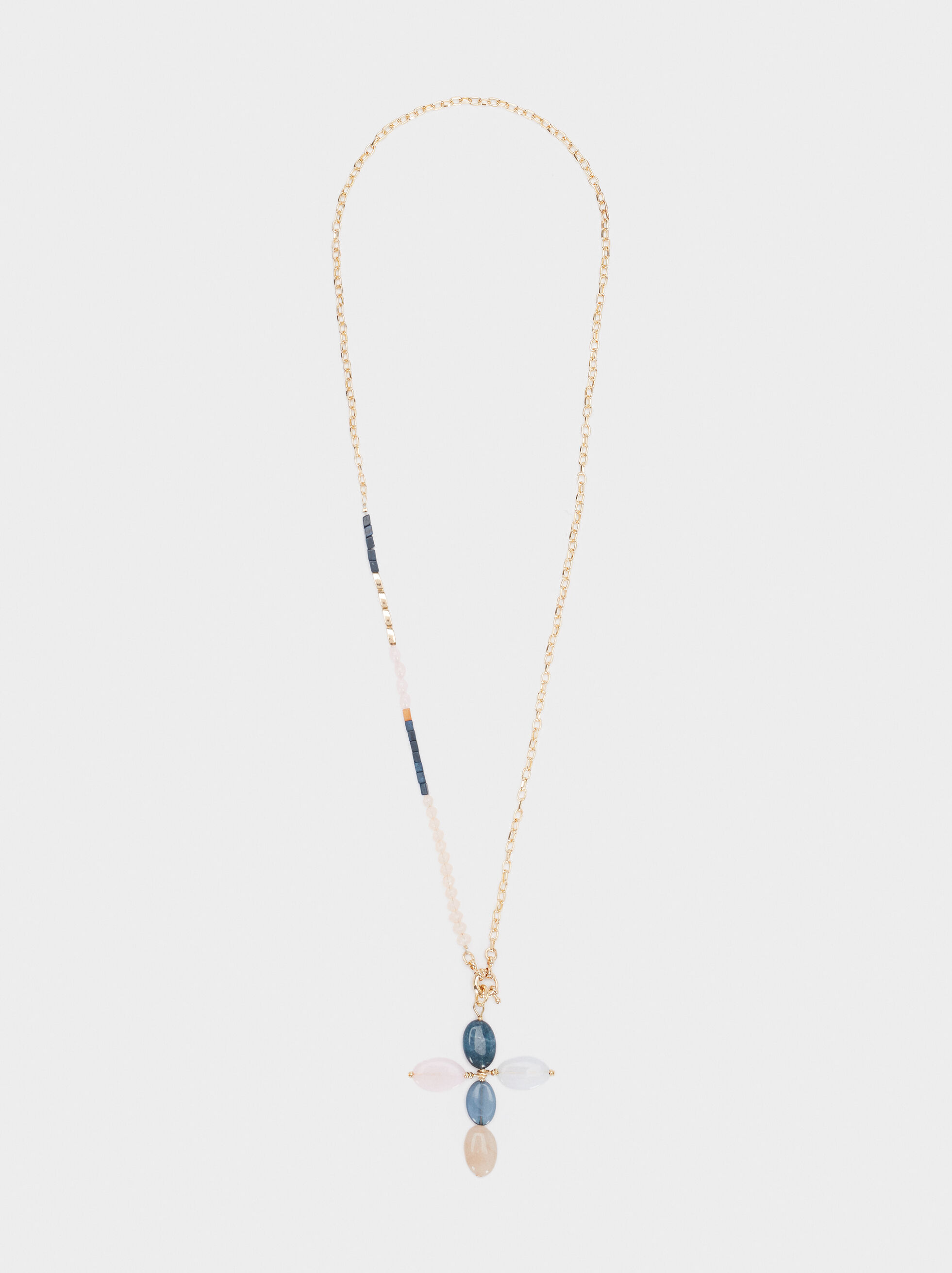 Long Necklace With Multicoloured Stone And Cross Pendant, Multicolor, hi-res