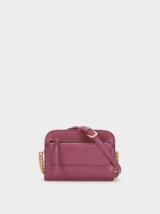 Animal Embossed Shoulder Bag, Pink, hi-res
