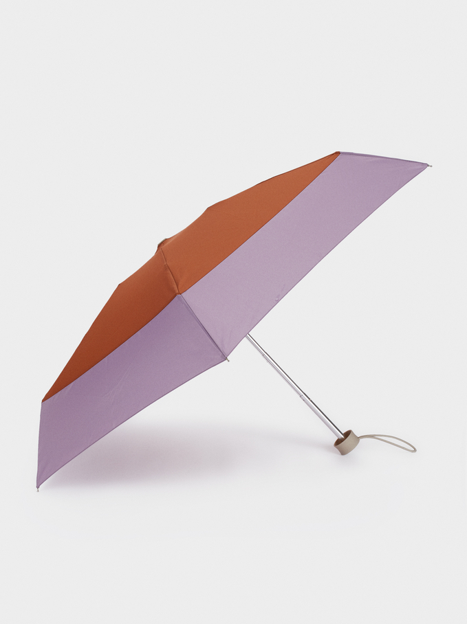 Small Bicolor Folding Umbrella, Brown, hi-res