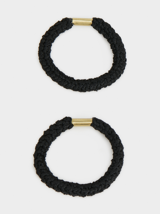 Conjunto De Gomas De Pelo Basic, Negro, hi-res