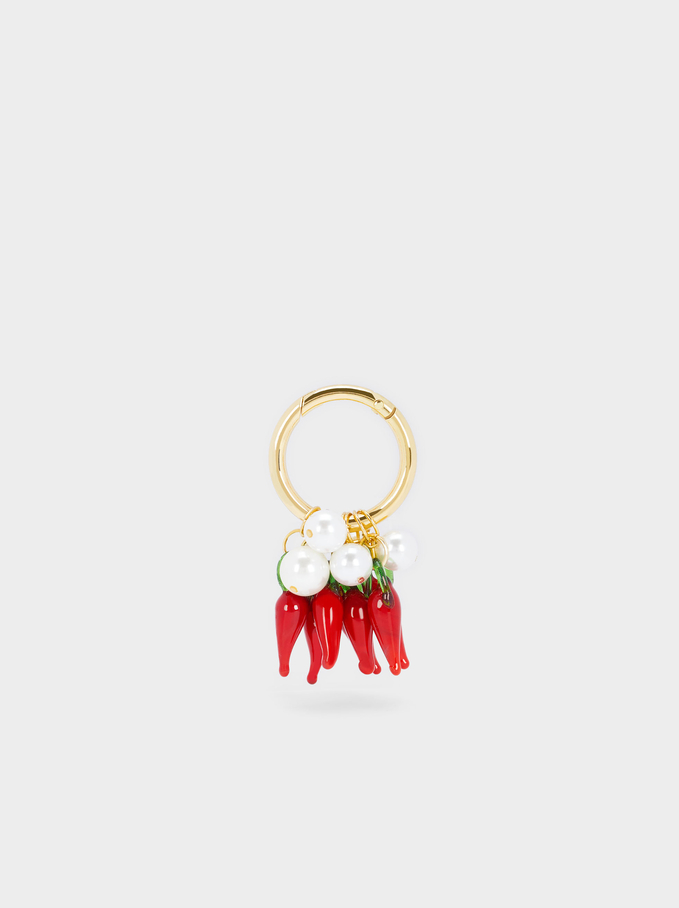 Charms Key Ring, Red, hi-res