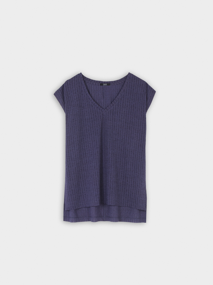 Sleeveless V-Neck Top, Blue, hi-res