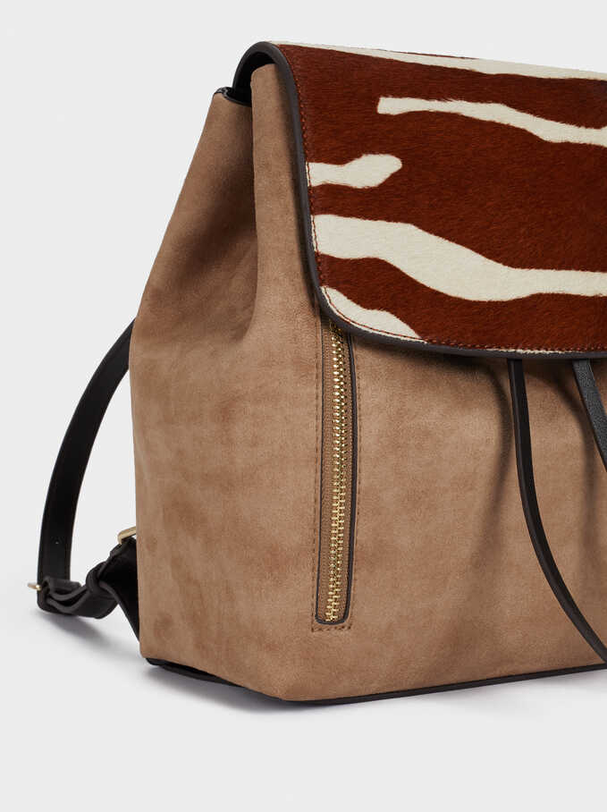Leather Backpack With Animal Print, Beige, hi-res