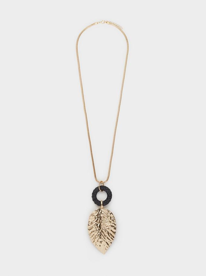 Long Leaf Necklace, Multicolor, hi-res