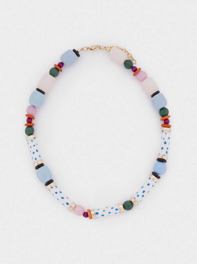 Short Necklace With Stone And Beads, Multicolor, hi-res