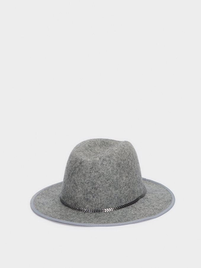 Wool Hat With Contrasting Band, Grey, hi-res