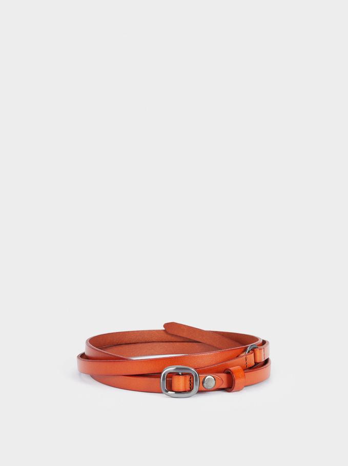 Leather Belt, Brick Red, hi-res