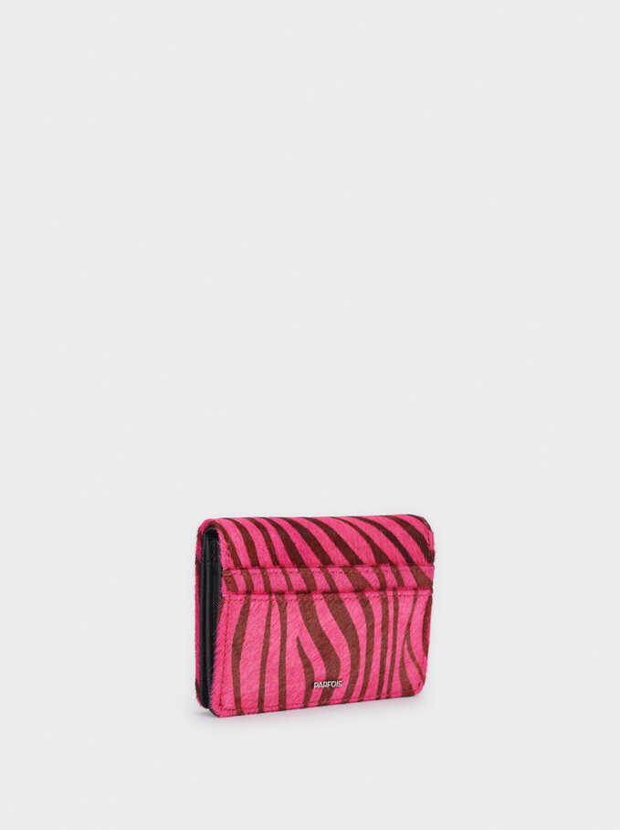 Leather Embossed Animal Print Purse, Pink, hi-res