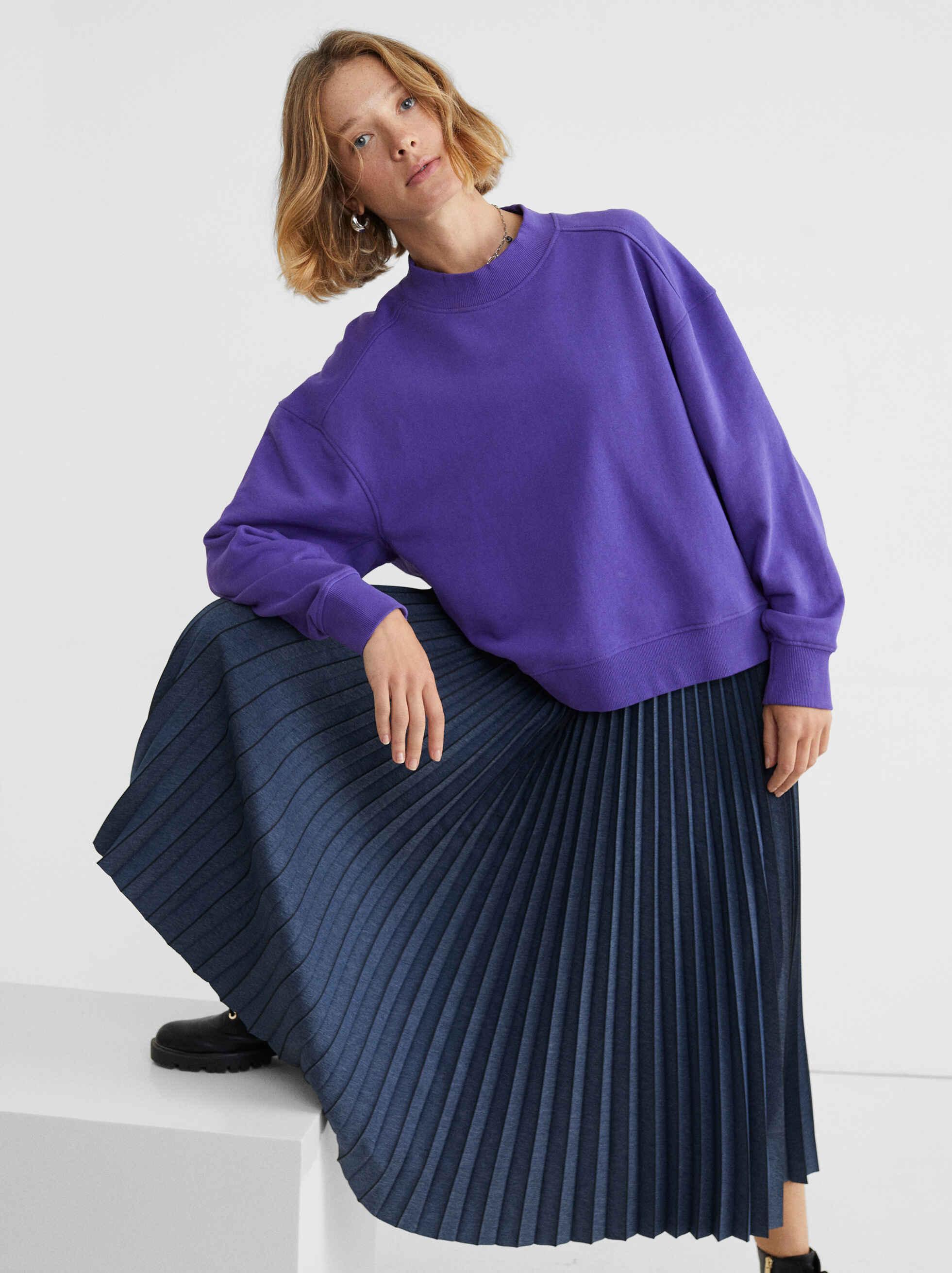 Falda Plisada Con Cintura Elástica, Azul, hi-res