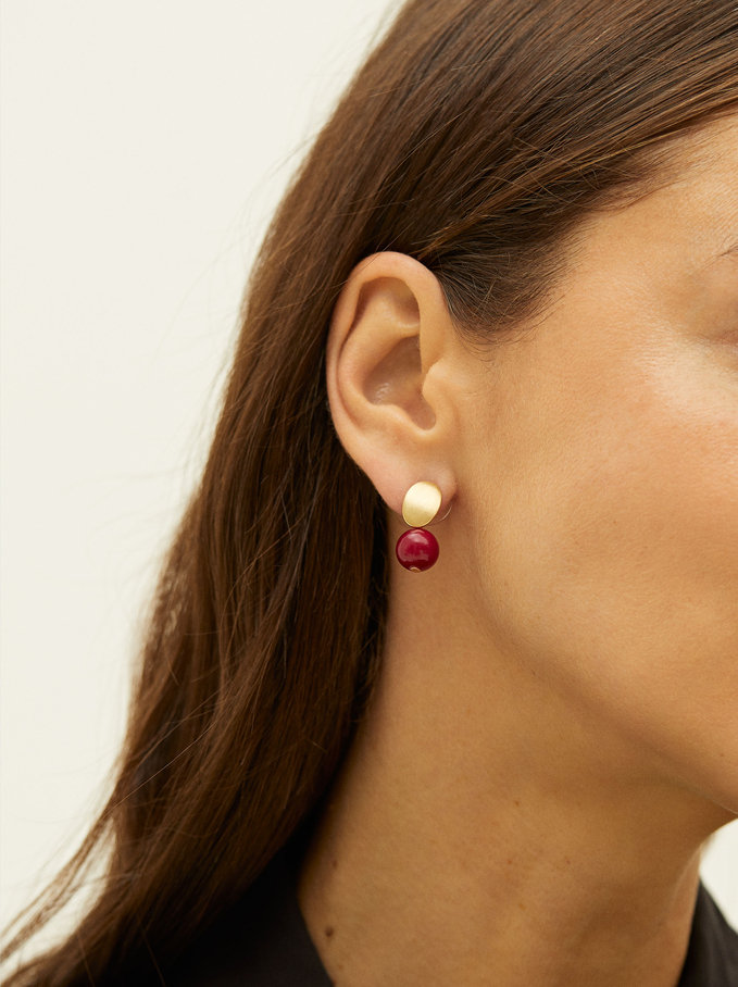 Stone Stud Earrings, Red, hi-res