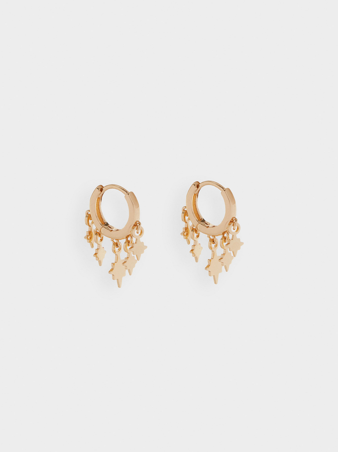Small Hoop Earrings With Stars, Golden, hi-res