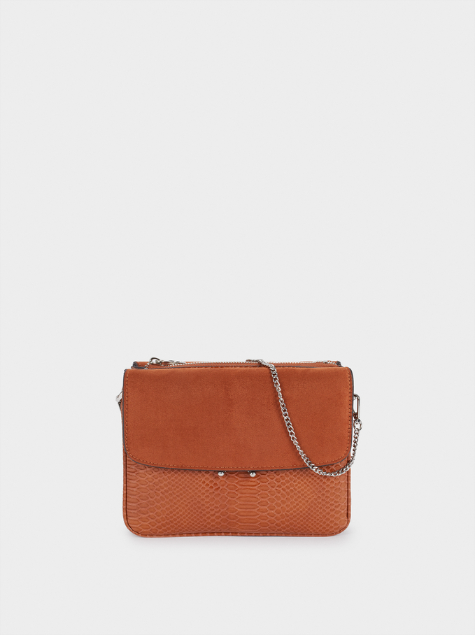 Crossbody Bag With Matching Front Flap Closure, Camel, hi-res