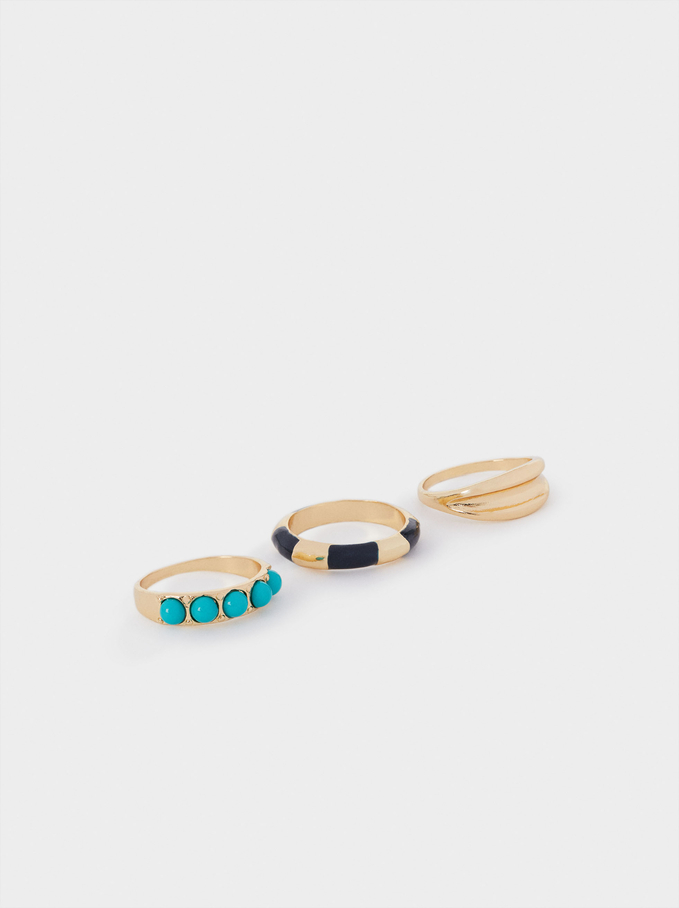 Set Of Rings With Enamel, Multicolor, hi-res