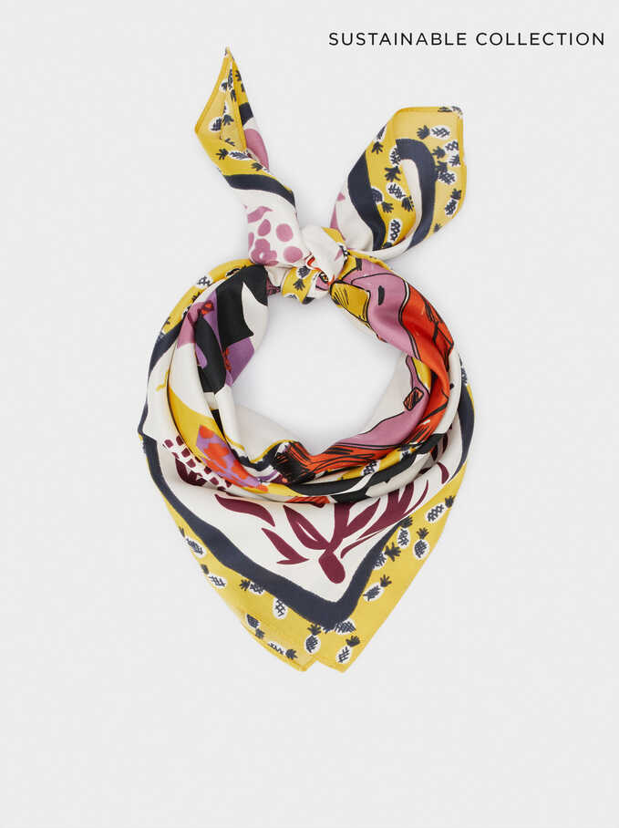 Printed Square Neckerchief Made From Recycled Materials, Ecru, hi-res