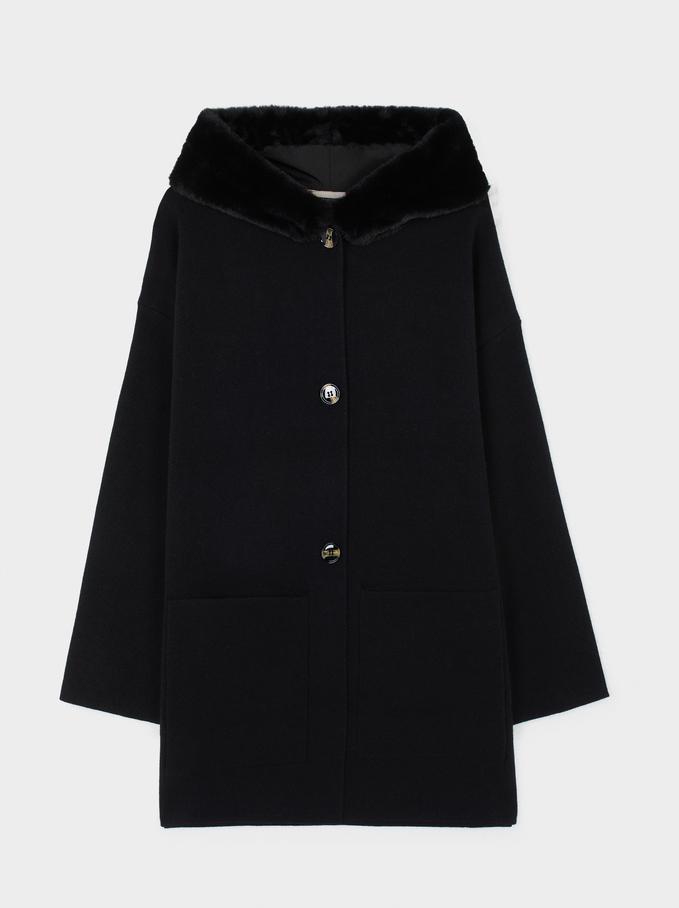 Jacket With Pockets And Hood, Black, hi-res