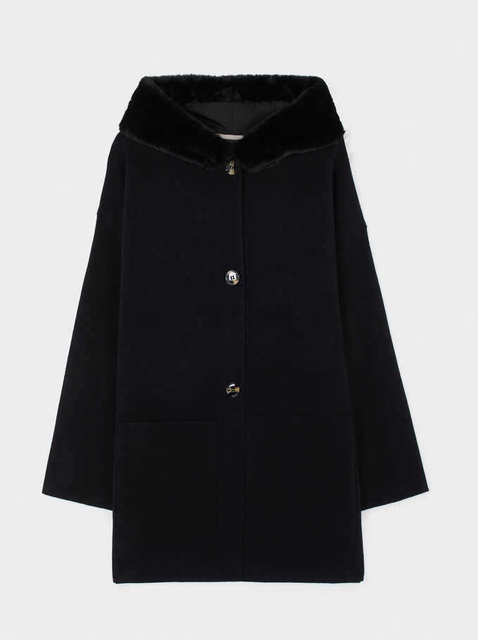 Hooded Cardigan With Pockets, Black, hi-res