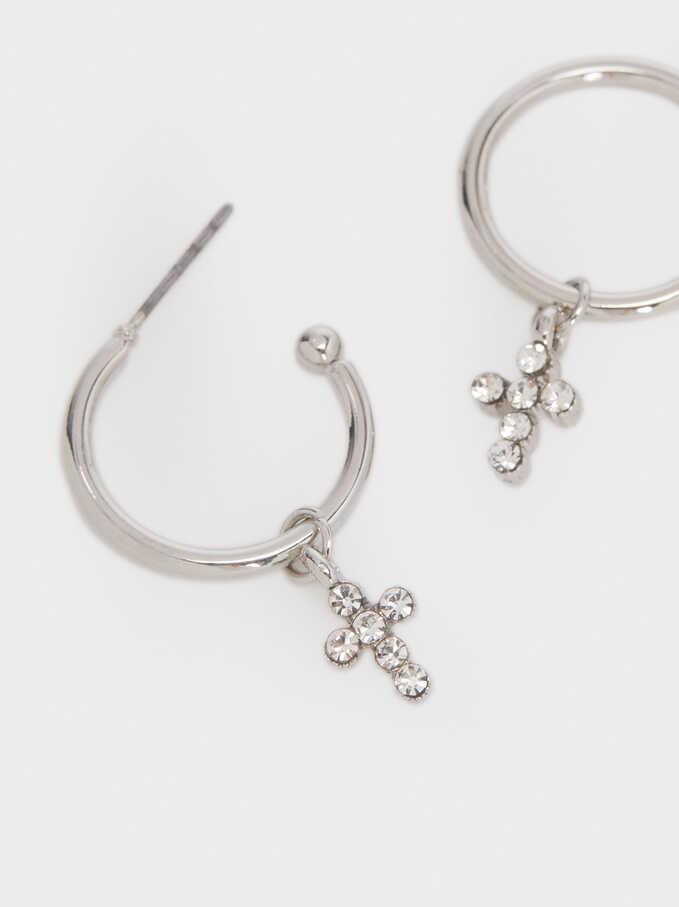Short Cross Hoop Earrings, Silver, hi-res