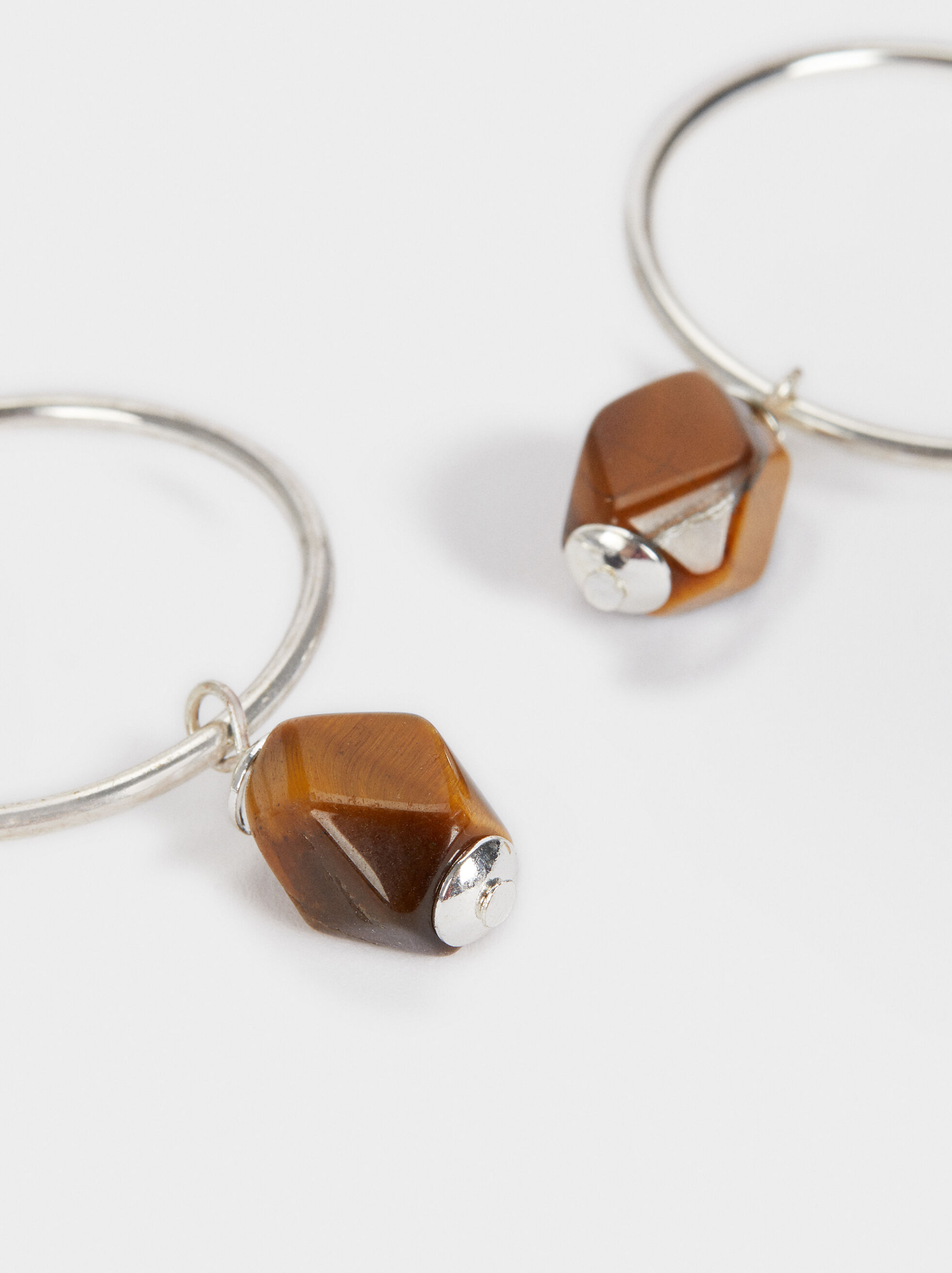 Star Valley Medium Hoop Earrings With Stone, Brown, hi-res