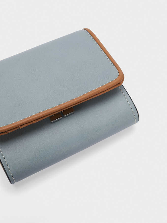 Compact Purse With Front Flap Fastening, Blue, hi-res