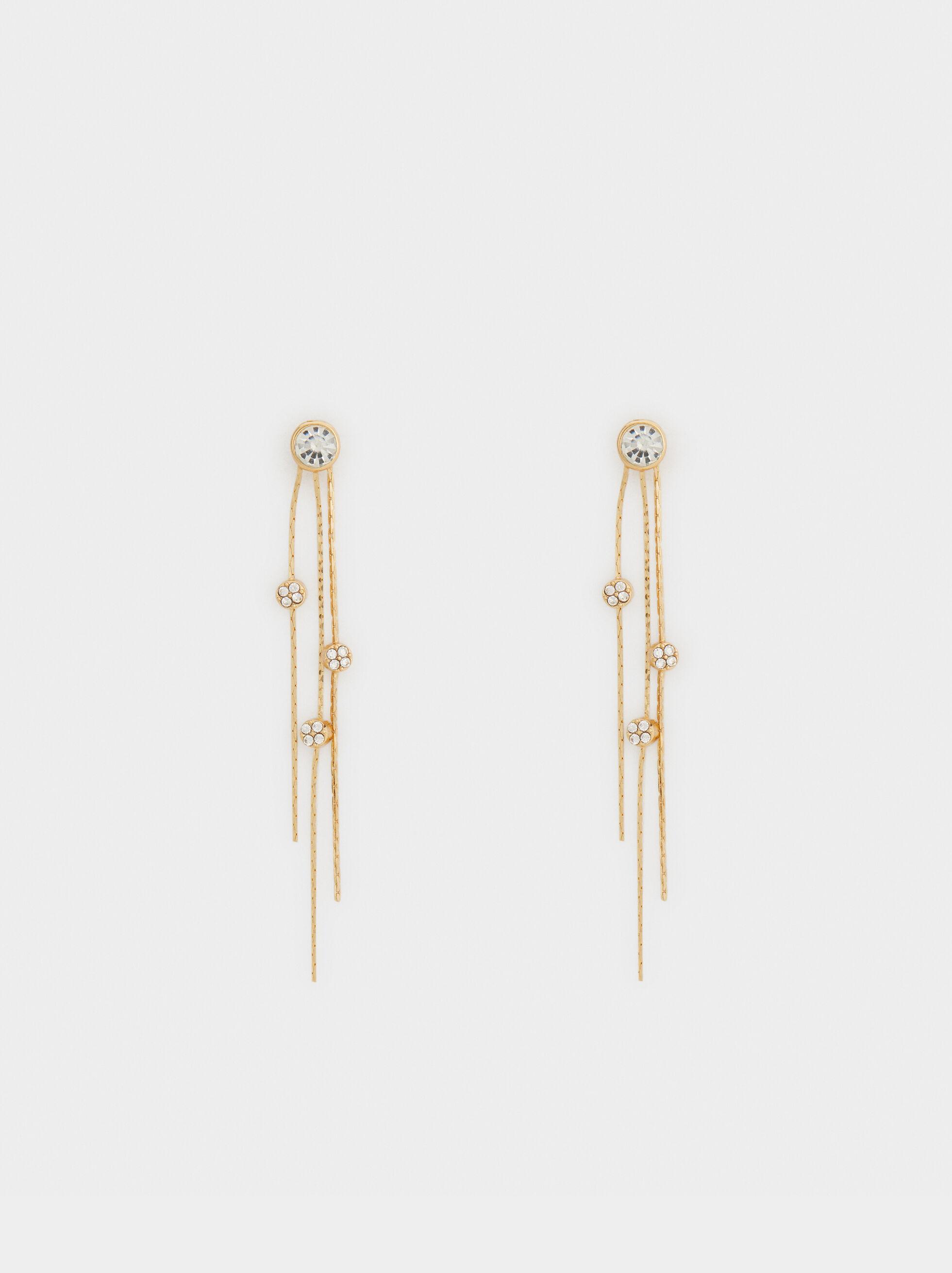 Long Shiny Dangle Earrings, , hi-res