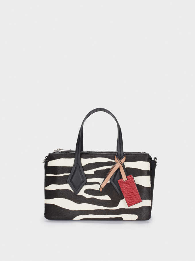 Bolso Tote De Piel Estampado Animal, Negro, hi-res