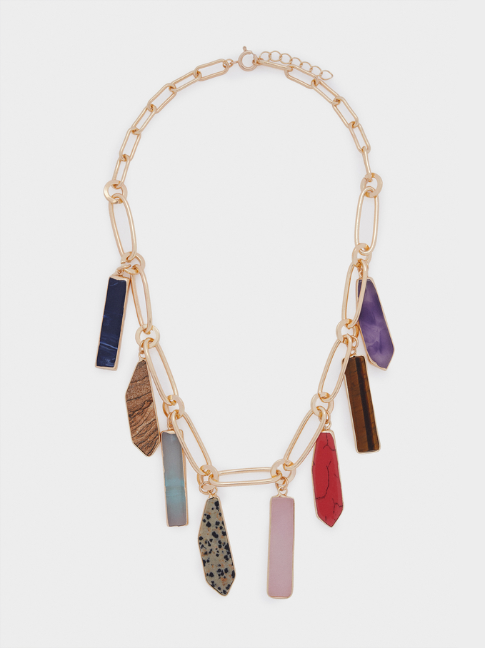 Stone And Resin Short Necklace, Multicolor, hi-res