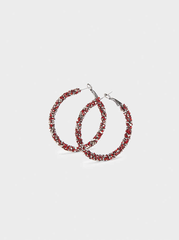 Large Hoop Earrings With Multicoloured Crystals, Bordeaux, hi-res