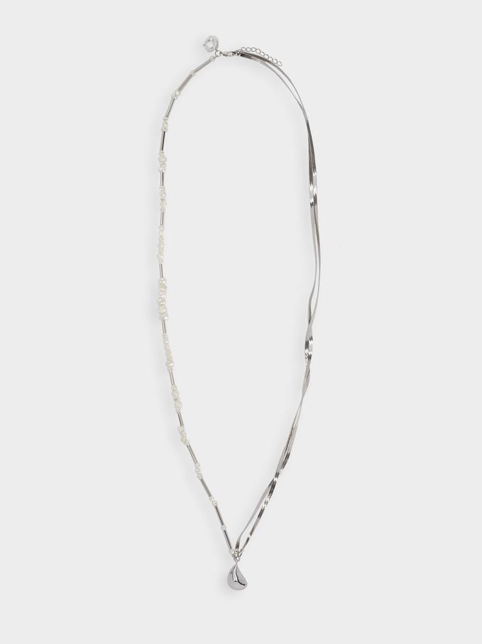 Collier Long Combiné Avec Perle, Blanc, hi-res