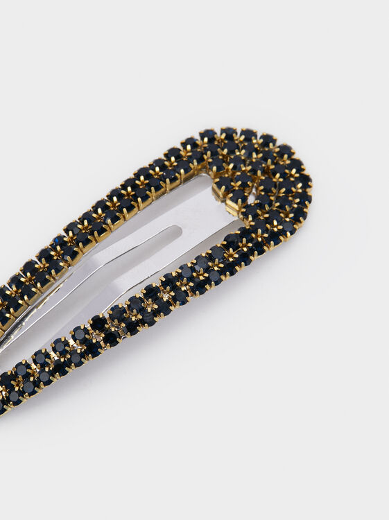 Bejewelled Hair Slide, Navy, hi-res