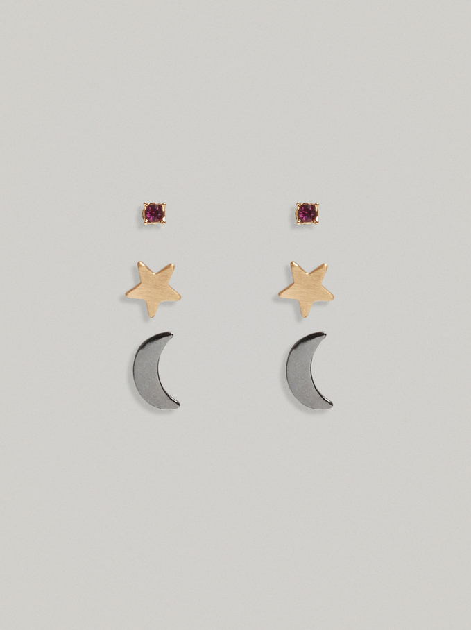 Set Of Earrings With Moon And Star, Multicolor, hi-res