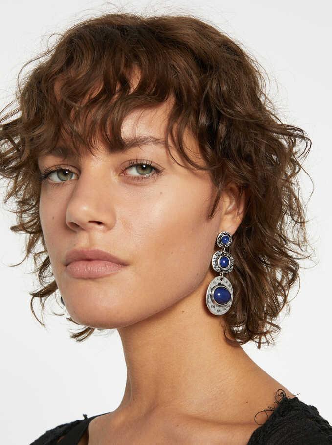 Blue Ink Earrings, Multicolor, hi-res
