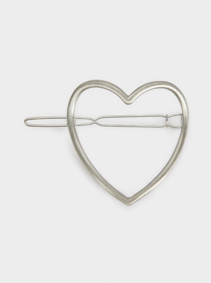 Heart Hairslide, Silver, hi-res