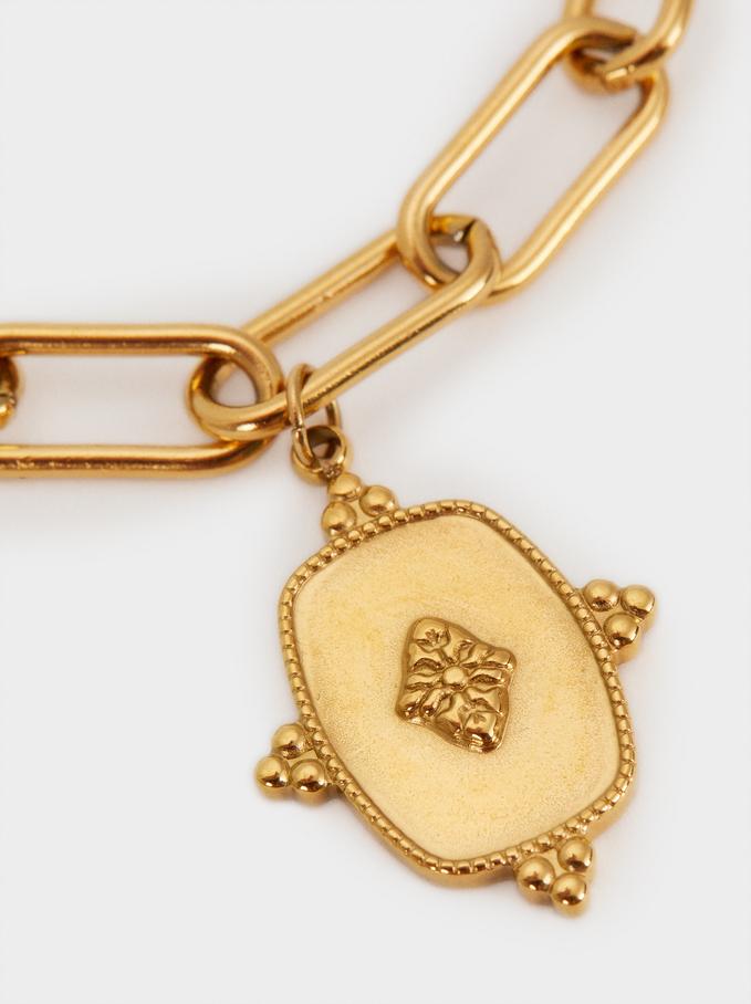 Stainless Steel Gold Link Bracelet, Golden, hi-res