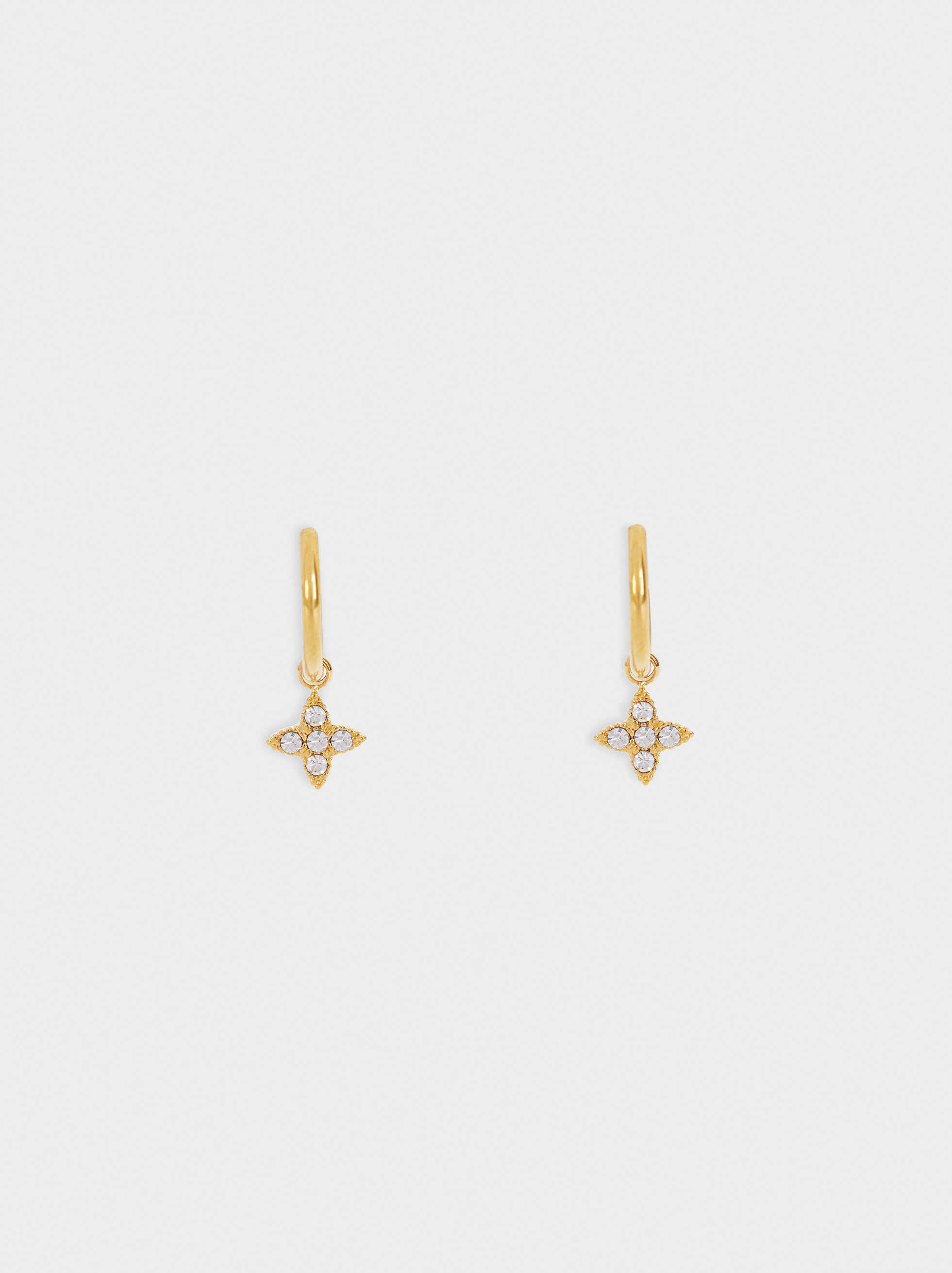 Stainless Steel Golden-Finish Small Earrings, , hi-res