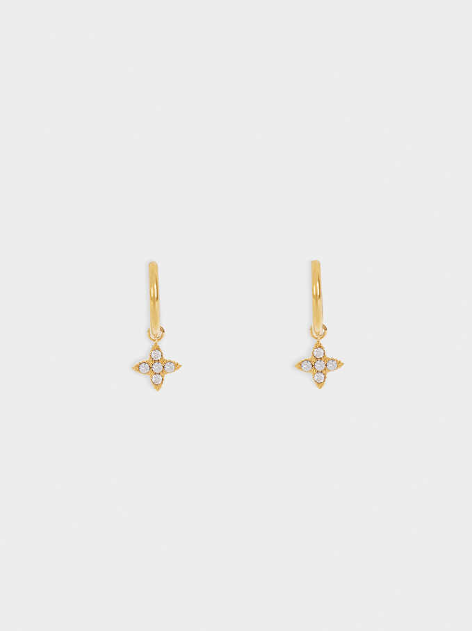 Stainless Steel Golden-Finish Small Earrings, , hi-res